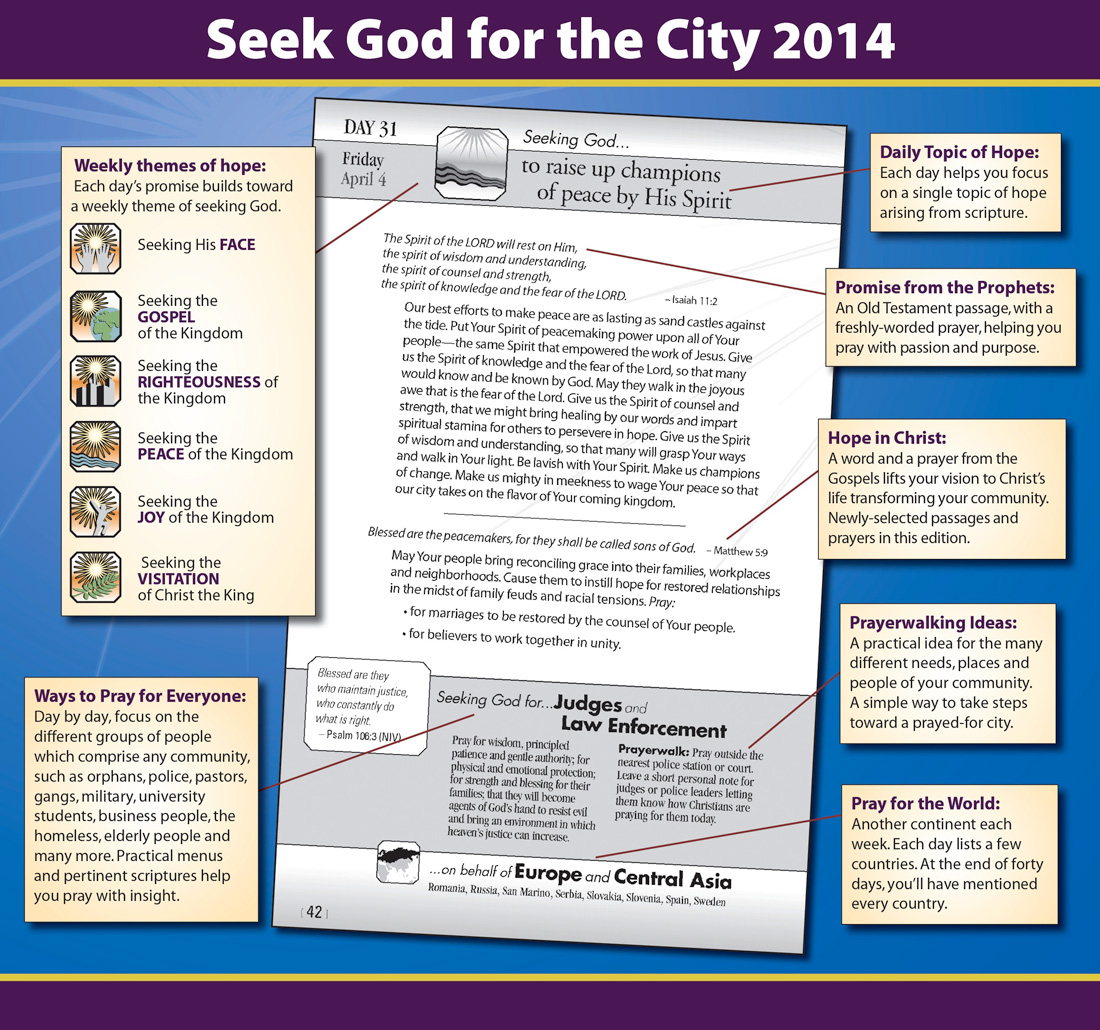 Check out a sample page of Seek God for the City